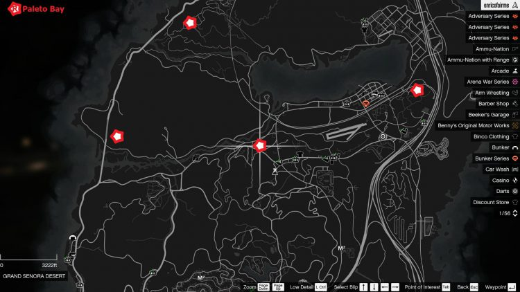 Image showing the second map of the movie collectible locations in GTA Online.