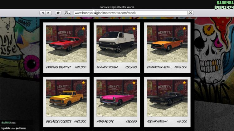 Image showing the new Benny's vehicles in the Los Santos Summer Special update for GTA Online.