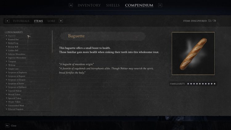 Image showing the Baguette consumable item from Mortal Shell.