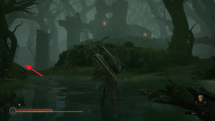Image showing where to go to get to the Abandoned Chambers in Mortal Shell.
