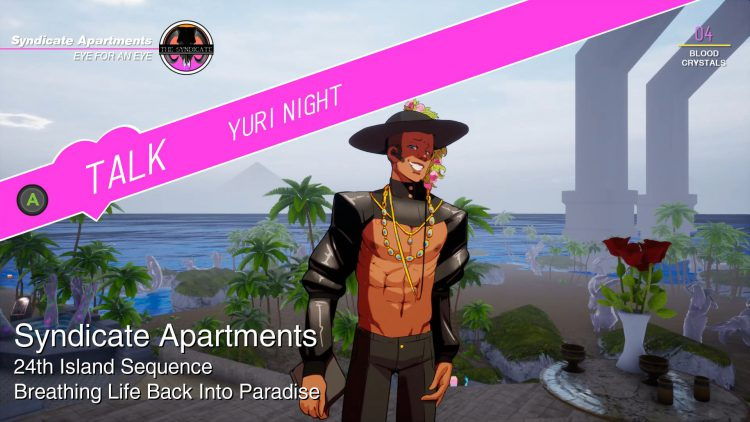 Image showing the Yuri Night NPC in Paradise Killer.