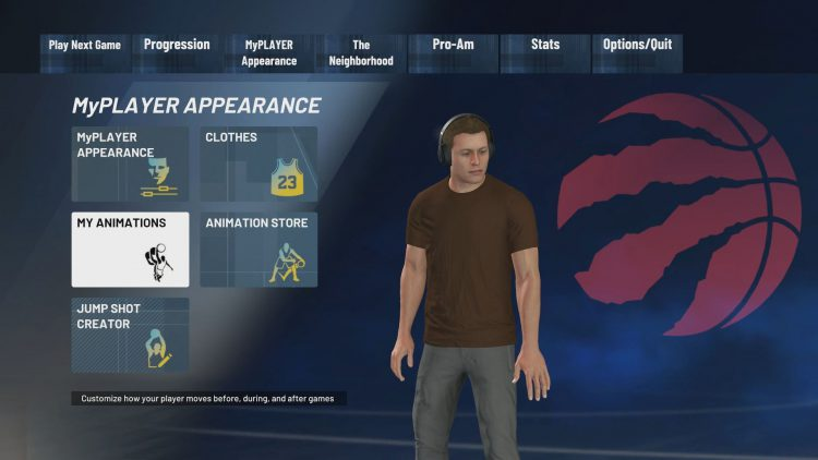 Image showing the My Animations option on the MyPLAYER Appearance screen in NBA 2K21.