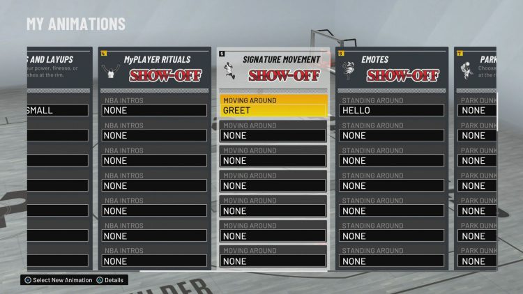 Image showing how to Change Your Signature Moves on the My Animations Screen.