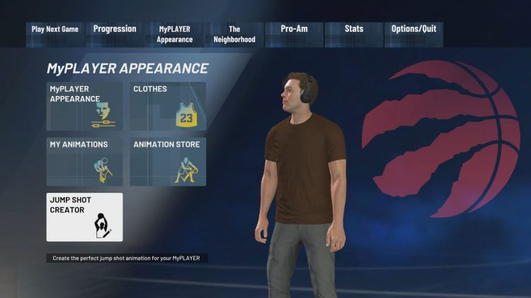 Image showing how to access the Jump Shot Creator in NBA 2K21.