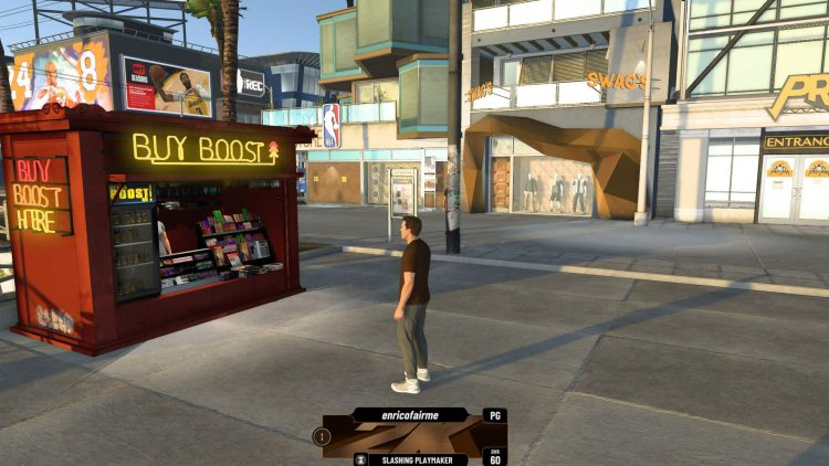 Image showing the location of the MyPLAYER boost stand in NBA 2K21.