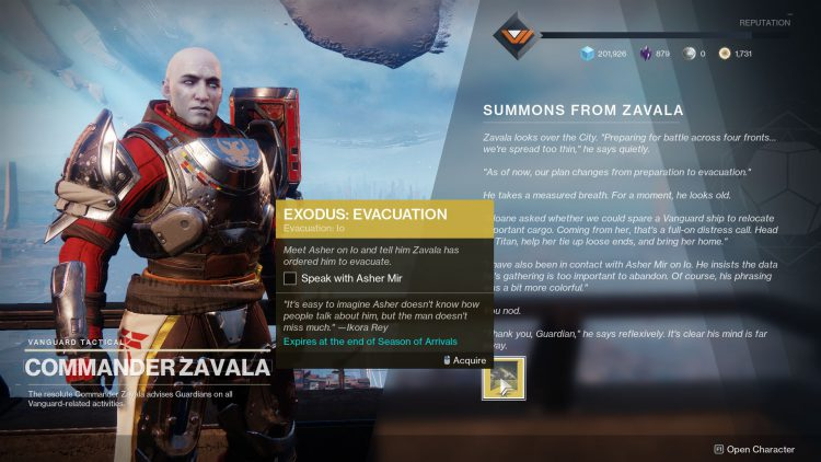 Image showing the Exodus: Evacuation mission in Destiny 2.