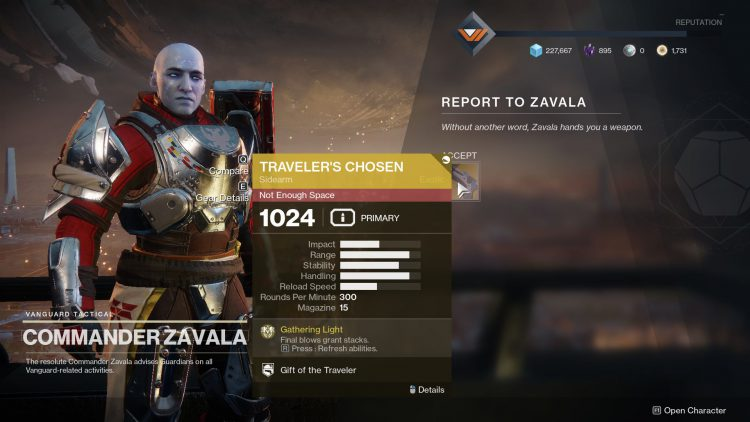 Image showing the Traveler's Chosen exotic sidearm in Destiny 2.