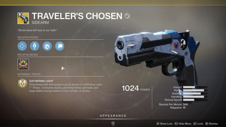 Image showing the Traveler's Chosen Perks and Traits in Destiny 2.