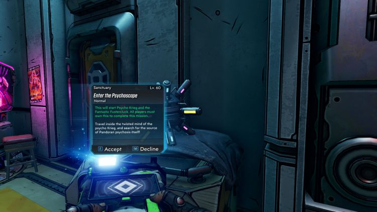 Image showing how to Interact with Strange Device on Sanctuary then Head to Krieg's Mind in Borderlands 3.
