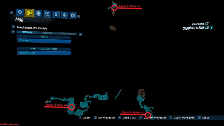 Image showing the Sapphire's Run Crew Challenges Map for Borderlands 3 DLC.