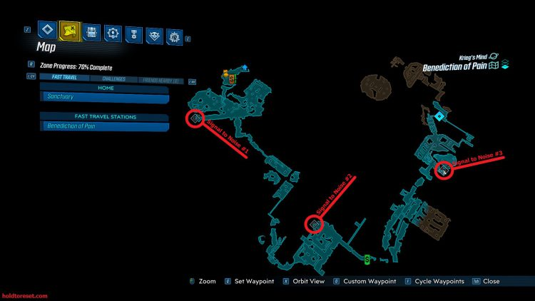 Image showing the Benediction of Pain Crew Challenges locations on the in-game map of Borderlands 3.
