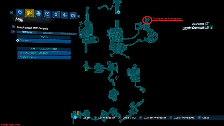 Image showing the SpongeBoss Bulletpants map location in Castle Crimson of Borderlands 3 DLC.