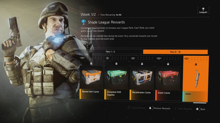 Image showing the Shade League Guide Rewards in The Division 2 Season 3.