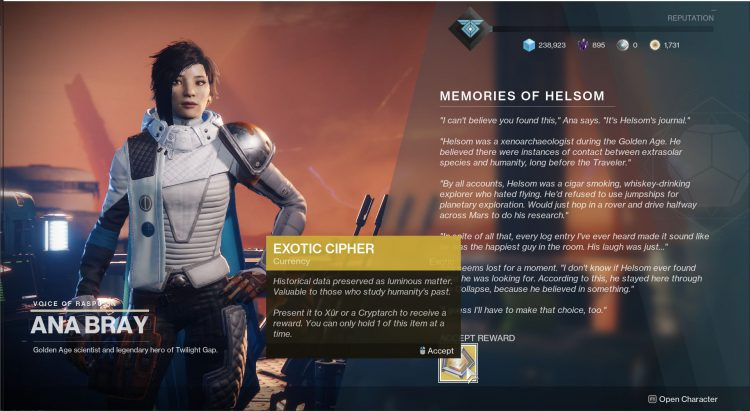 Image showing the Memories of Helsom tribute in Destiny 2.