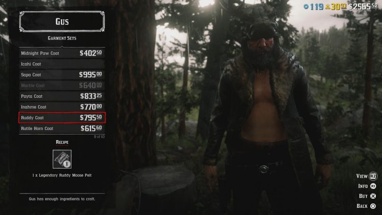 Image showing the Ruddy Coat in Red Dead Online.