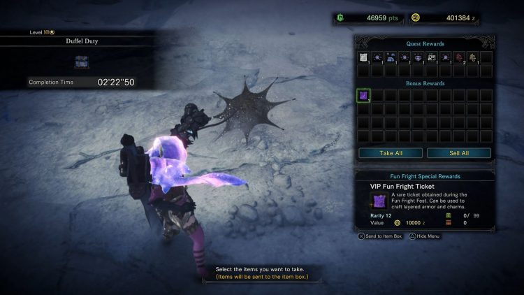 Image showing a VIP Fun Fright Ticket drop in Monster Hunter World: Iceborne.