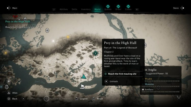 Image showing where to find the first mauling site in Assassin's Creed Valhalla.