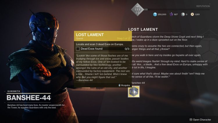 Image showing How to Start The Lost Lament Exotic Quest.