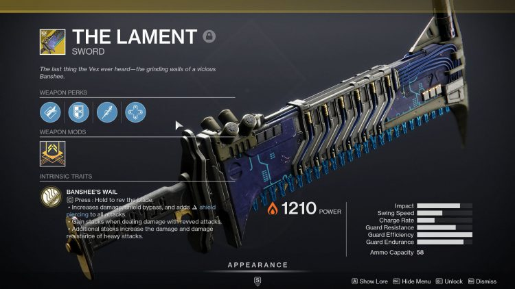 Image showing The Lament Exotic in Destiny 2.