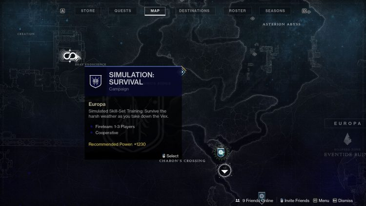 Image showing how to start the Simulation: Survival mission in Destiny 2: Beyond Light.