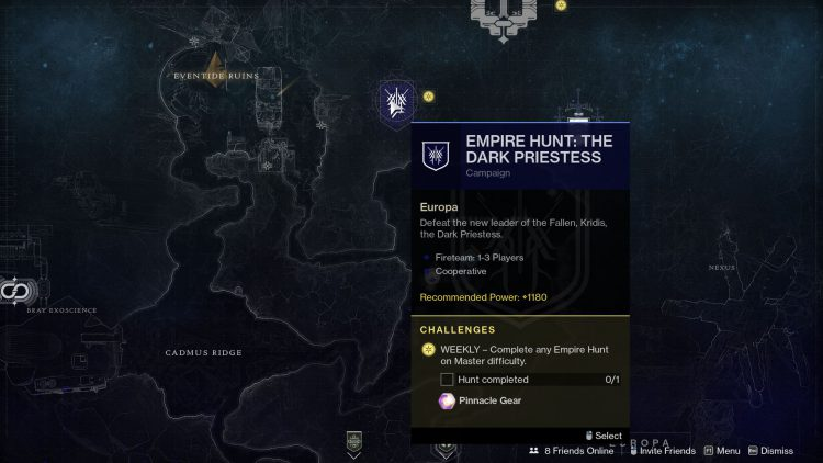 Image showing the Empire Hunt: The Dark Priestess campaign mission in Destiny 2 Beyond Light.