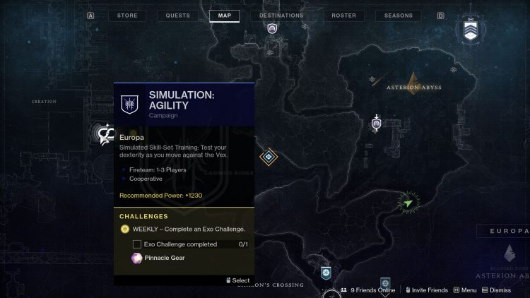 Image showing how to star the Simulation: Agility mission in Destiny 2.