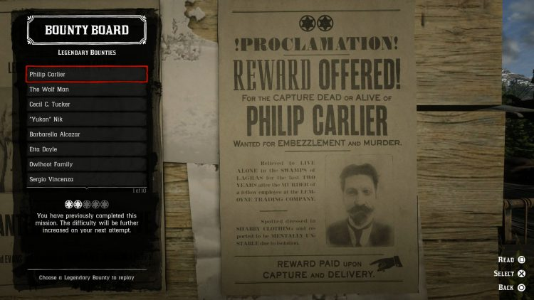 Image showing the Legendary Bounty Targets List for Red Dead Online.