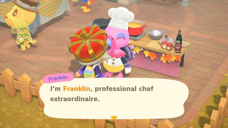 Image showing Franklin on Turkey Day in Animal Crossing New Horizons.