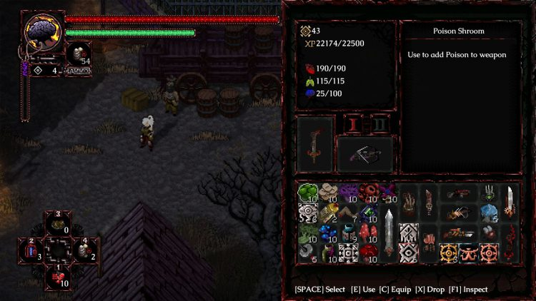 Image showing the inventory in Morbid: The Seven Acolytes Review.