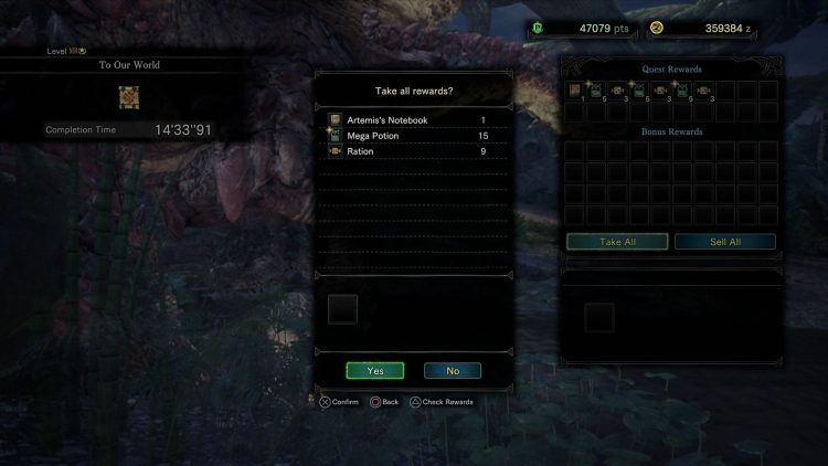 Image showing the rewards for completing the To Our World Event Quest in MHW I.