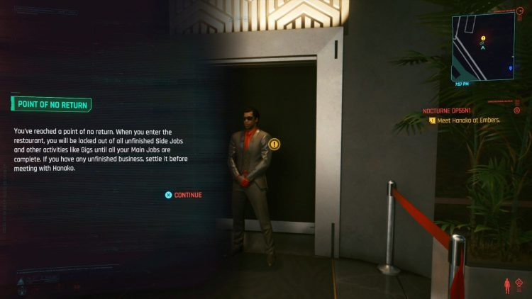 Image showing the point of no return for the Cyberpunk 2077 endings.
