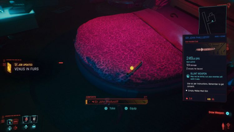 Image showing How to Get the Sir John Phallustiff in Cyberpunk 2077.