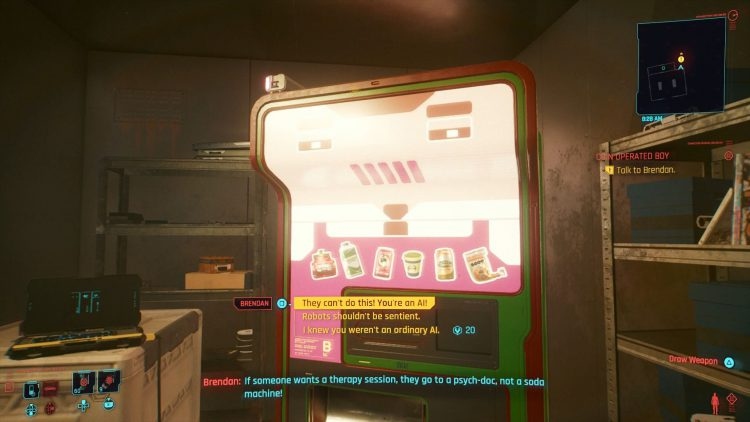 Image showing the Brendan Vending Machine Update Choices in Cyberpunk 2077.