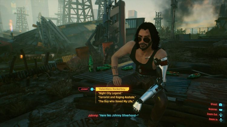 Image showing What to Say to Johnny At His Grave in Cyberpunk 2077.