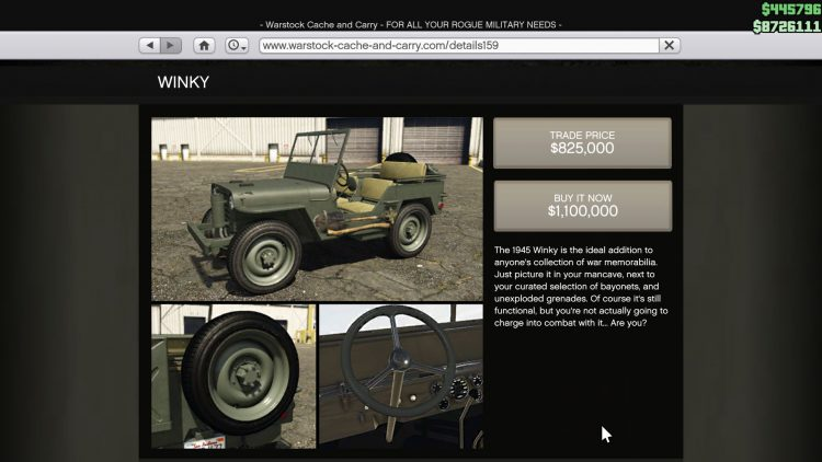 Image showing the Winky Jeep in GTA Online.