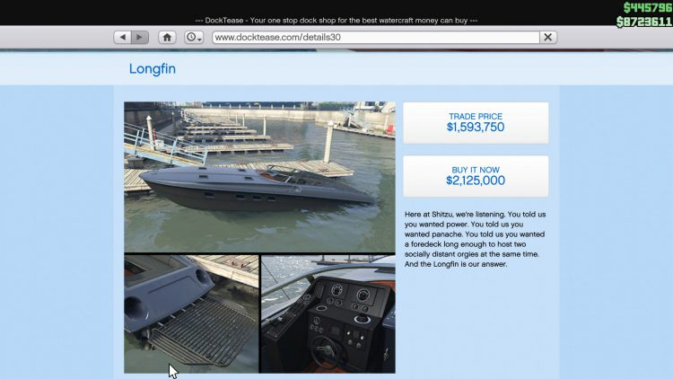 Image showing the Longfin boat in GTA Online.