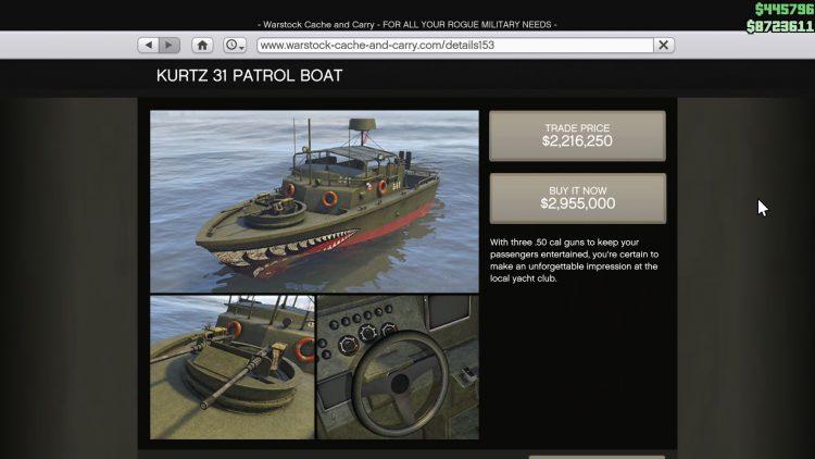 Image showing the Kurtz 31 Patrol Boat in GTA Online.