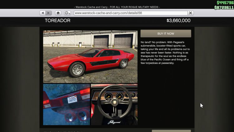 Image showing the Toreador in GTA Online.