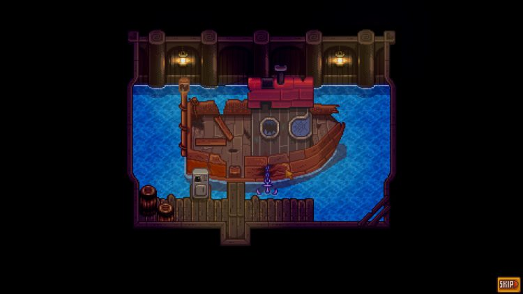 Image showing Willy's old ship in Stardew Valley.