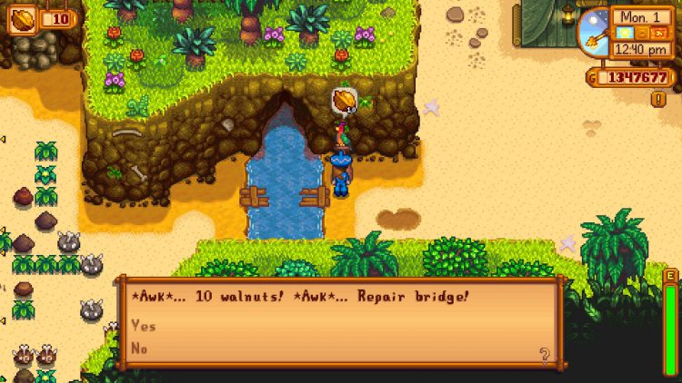 Image showing where to repair the bridge on Ginger Island in Stardew Valley.