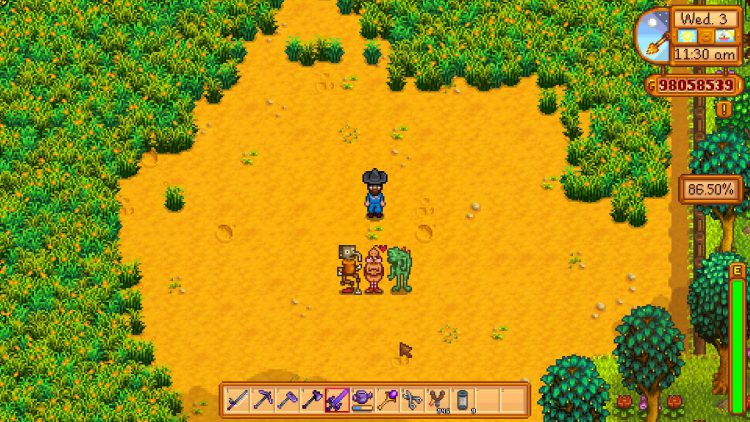 Image showing the three secret statues in Stardew Valley.