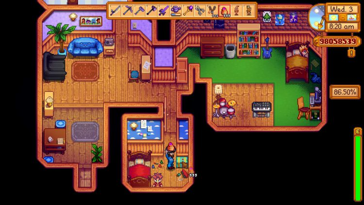Image showing how to open Vincent's Toybox in Stardew Valley using Strange Bun.