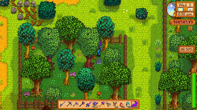 Image showing how to open the locked box in the fenced in area of the Stardew Valley town using a Super Cucumber.