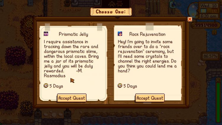 Image showing the Prismatic Jelly quest in Stardew Valley.