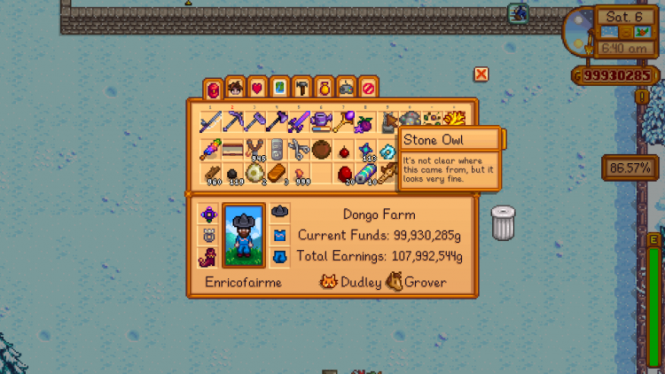 Image showing the Stone Owl description in Stardew Valley.