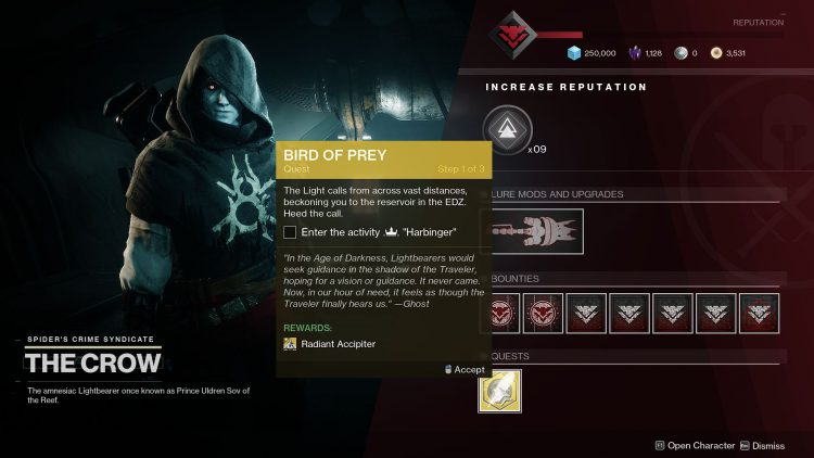 Image showing how to start the Bird of Prey mission in Destiny 2.