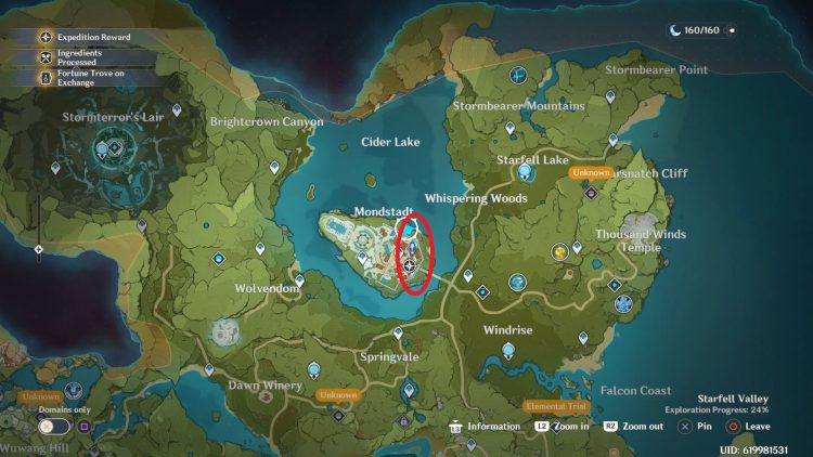 Image showing locations of Blue Items in Genshin Impact.