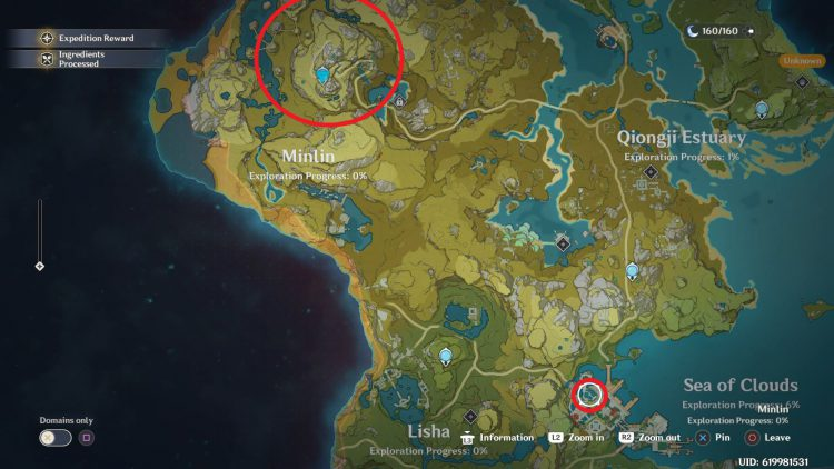 Image showing on the map Where to Find Jueyun Chili and Lotus Head in Genshin Impact.