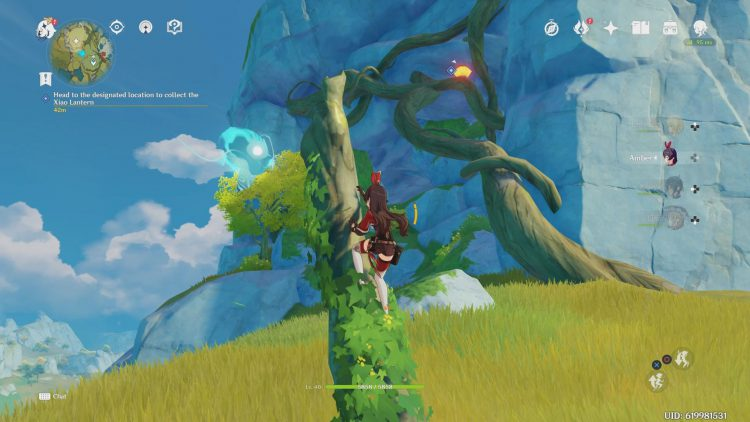 Image showing how to get the Broken Lantern in the tree in Genshin Impact.