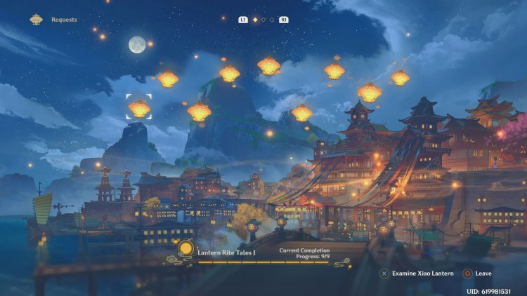 Image showing the Lantern Rite Tales I screen in Genshin Impact.